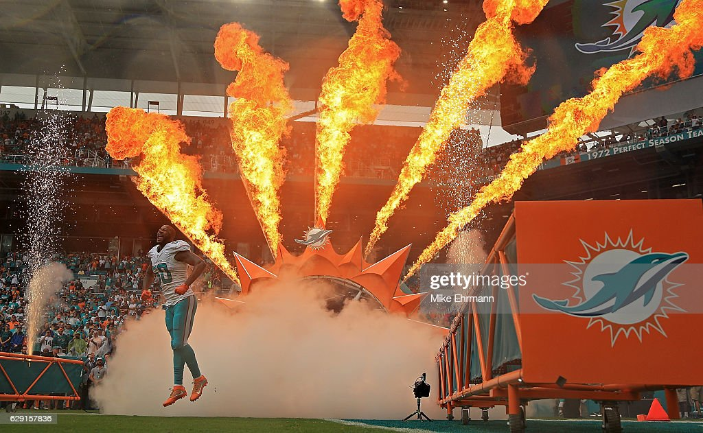 Andre Branch #50 of the Miami Dolphins takes the field during a game against the Arizona Cardinals at Hard Rock Stadium on December 11, 2016 in Miami Gardens, Florida.