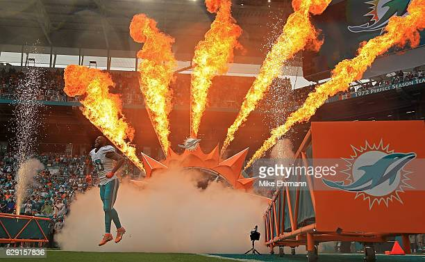Andre Branch of the Miami Dolphins takes the field during a game against the Arizona Cardinals at Hard Rock Stadium on December 11 2016 in Miami...