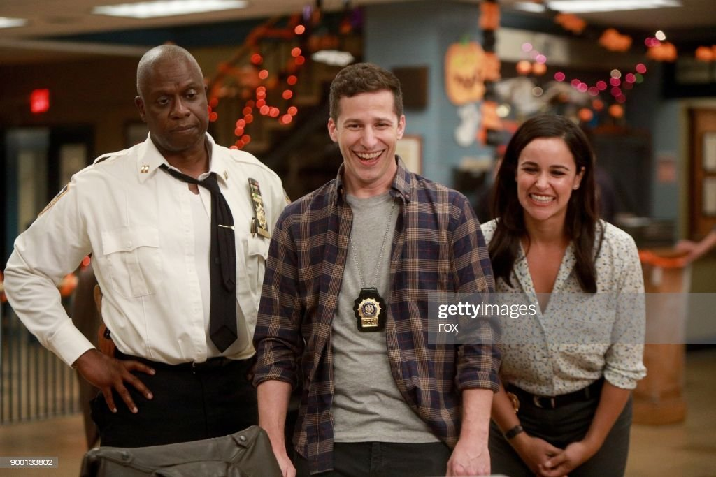 Andre Braugher, Andy Samberg and Melissa Fumero in the HalloVeen episode of BROOKLYN NINE-NINE airing Tuesday, Oct. 17 (9:30-10:00 PM ET/PT) on FOX.