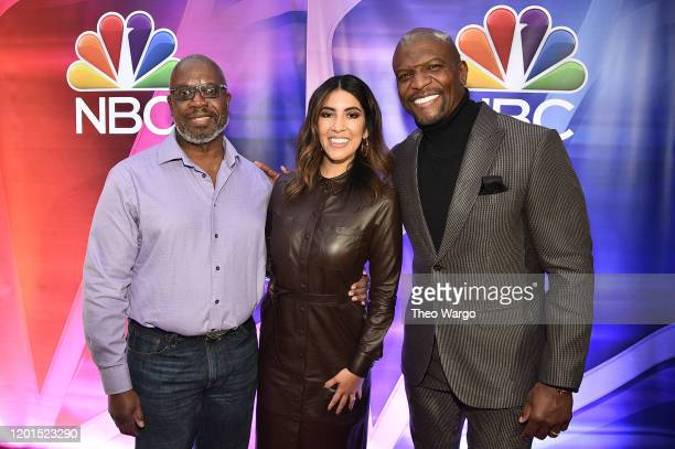 Andre Braugher, Stephanie Beatriz and Terry Cruz attend the NBC Midseason New York Press Junket at Four Seasons Hotel New York on January 23, 2020 in...