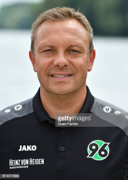 Andre Breitenreiter head coach of Hannover 96 poses during the team presentation at on July 14 2017 in Hanover Germany