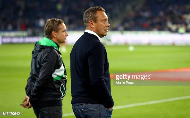 Andre Breitenreiter head coach of Hannover looks on before the Bundesliga match between Hannover 96 and Hamburger SV at HDIArena on September 15 2017...