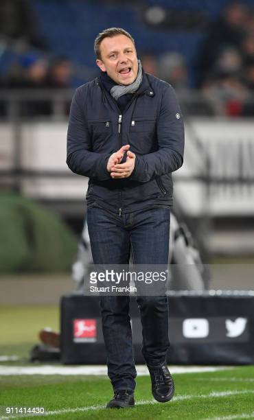 Andre Breitenreiter head coach of Hannover reacts during the Bundesliga match between Hannover 96 and VfL Wolfsburg at HDIArena on January 28 2018 in...