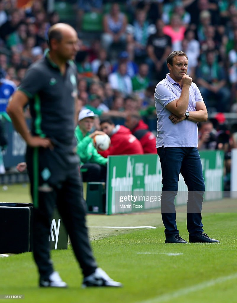 Andre Breitenreiter (R), head coach of Schalke reacts during the Bundesliga match between SV Werder Bremen and Schalke 04 at Weserstadion on August 15, 2015 in Bremen, Germany.