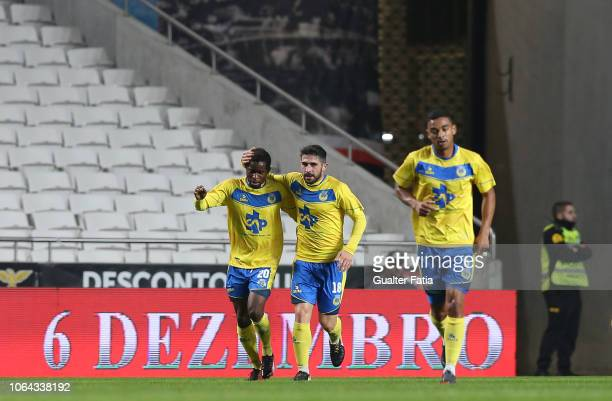 Andre Bukia of FC Arouca celebrates after scoring a goal during the Taca de Portugal match between SL Benfica and Arouca FC at Estadio da Luz on...