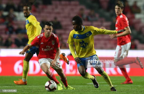 Andre Bukia of FC Arouca competes for the ball with Corchia of SL Benfica during the Taca de Portugal match between SL Benfica and Arouca FC at...