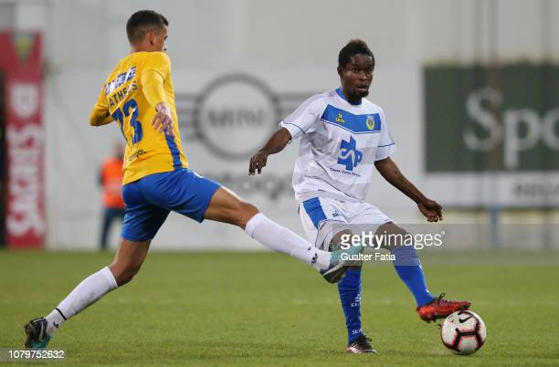 Andre Bukia of FC Arouca with Matheus Luiz of GD Estoril Praia in action during the Ledman Liga Pro match between GD Estoril Praia and FC Arouca at...