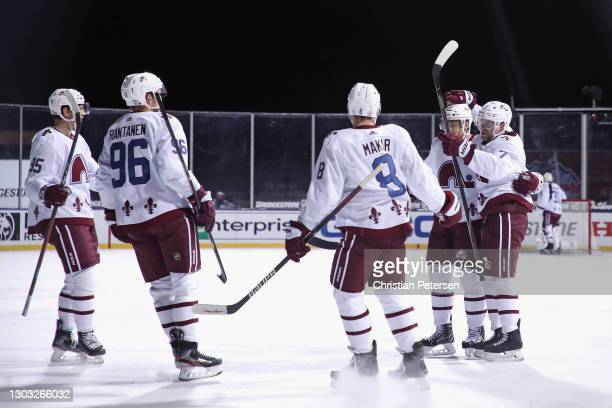 Andre Burakovsky, Mikko Rantanen, Cale Makar, Nathan MacKinnon and Devon Toews of the Colorado Avalanche celebrate Toew's goal at 13:11 of the third...