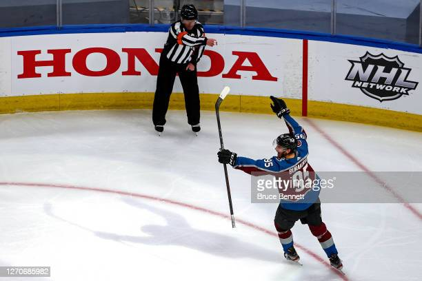 Andre Burakovsky of the Colorado Avalanche celebrates after scoring a goal against the Dallas Stars during the first period in Game Seven of the...