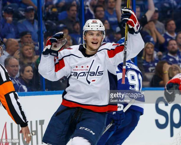 Andre Burakovsky of the Washington Capitals celebrates a goal against the Tampa Bay Lightningt during Game One of the Eastern Conference Final during...