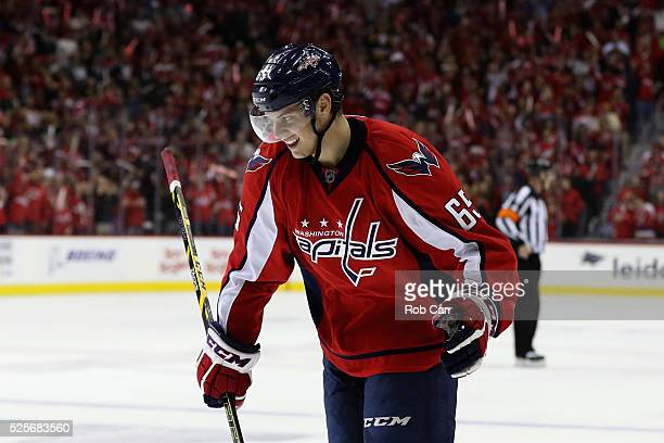 Andre Burakovsky of the Washington Capitals celebrates after scoring a first period goall against the Pittsburgh Penguins in Game One of the Eastern...