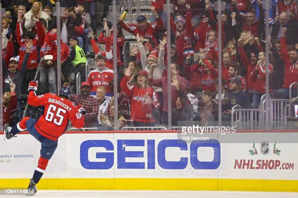 Andre Burakovsky of the Washington Capitals celebrates his first period goal against the Chicago Blackhawks at Capital One Arena on November 21 2018...