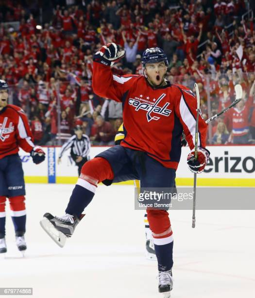 Andre Burakovsky of the Washington Capitals celebrates his goal at 1930 of teh first period against the Pittsburgh Penguins in Game Five of the...