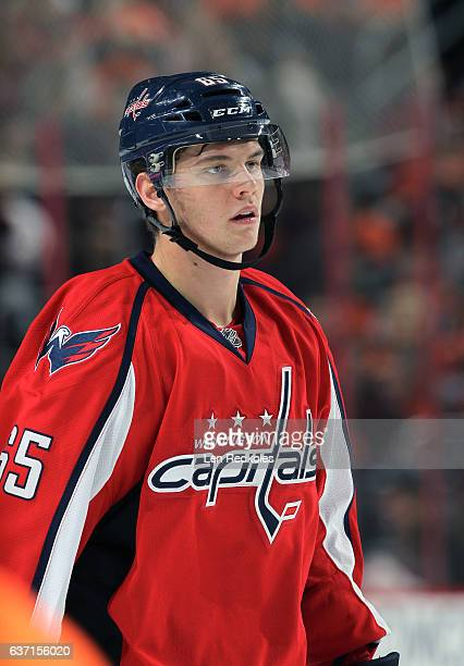 Andre Burakovsky of the Washington Capitals looks on against the Philadelphia Flyers on December 21 2016 at the Wells Fargo Center in Philadelphia...