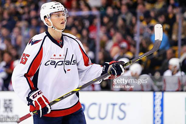 Andre Burakovsky of the Washington Capitals looks on during the first period against the Boston Bruins at TD Garden on March 5 2016 in Boston...