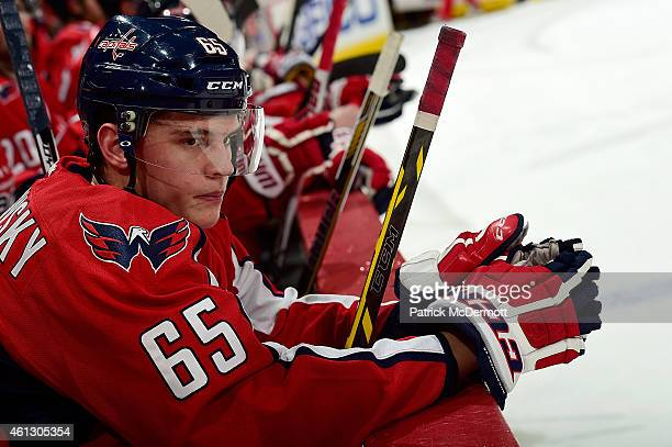 Andre Burakovsky of the Washington Capitals looks on from the bench in the third period during an NHL game against the Detroit Red Wings at Verizon...