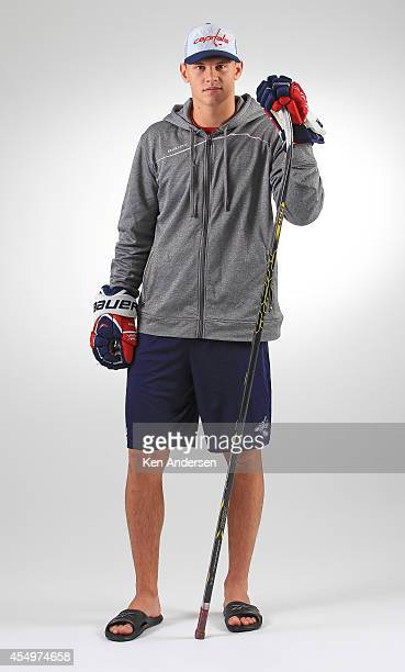 Andre Burakovsky of the Washington Capitals poses for an NHLPA The Players Collection portrait at the Mattamy Sports Center on August 23 2014 in...