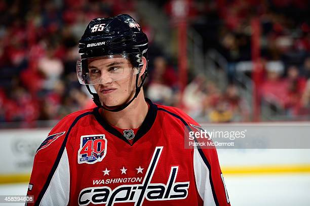 Andre Burakovsky of the Washington Capitals reacts in the third period during an NHL game against the New Jersey Devils at Verizon Center on October...