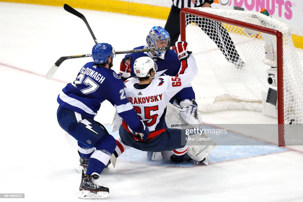 Andre Burakovsky #65 of the Washington Capitals scores his second goal on Andrei Vasilevskiy #88 of the Tampa Bay Lightning during the second period in Game Seven of the Eastern Conference Finals during the 2018 NHL Stanley Cup Playoffs at Amalie Arena on May 23, 2018 in Tampa, Florida.