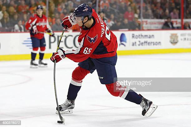 Andre Burakovsky of the Washington Capitals shoots the puck for a goal against the Philadelphia Flyers during the first period at Wells Fargo Center...