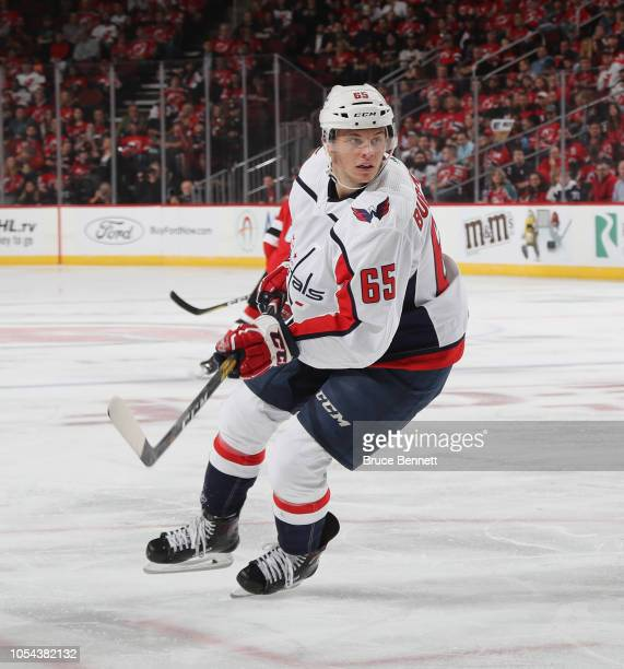 Andre Burakovsky of the Washington Capitals skates against the New Jersey Devils at the Prudential Center on October 11 2018 in Newark New Jersey The...