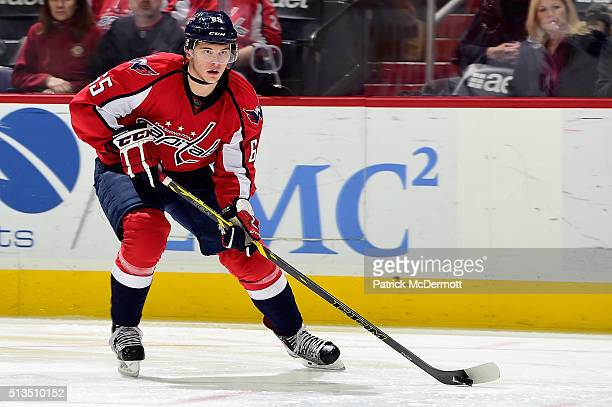 Andre Burakovsky of the Washington Capitals skates with the puck in the third period during their game against the Toronto Maple Leafs at Verizon...