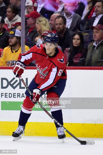Andre Burakovsky of the Washington Capitals skates with the puck in the second period against the Nashville Predators at Capital One Arena on April 5...