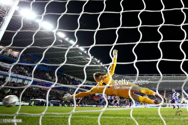 Andre Burley of Reading FC scores his sides first goal from the penalty spot during the FA Cup Fifth Round match between Reading FC and Sheffield...