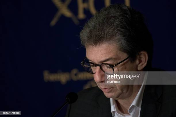 Andre Calantzopoulos CEO Philip Morris International Inc speaks during a press conference at the Foreign Correspondents' Club of Japan in Tokyo on...