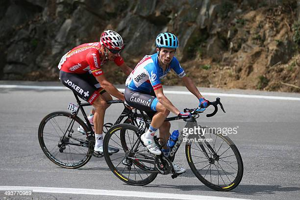 Andre Cardoso of Portugal and GarminSharp and Adam Hansen of Australia and LottoBelisol in action during the fifteenth stage of the 2014 Giro...