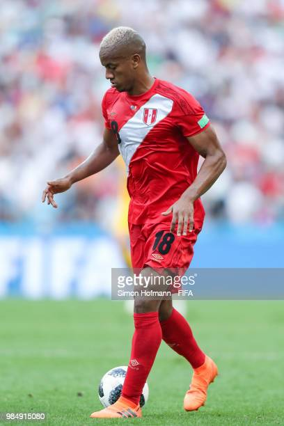Andre Carillo of Peru controls the ball during the 2018 FIFA World Cup Russia group C match between Australia and Peru at Fisht Stadium on June 26...