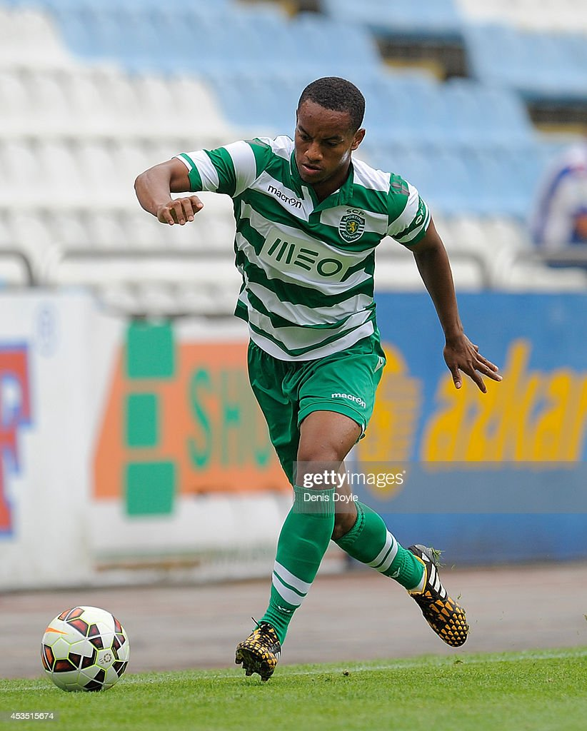 Andre Carillo of Sporting Clube de Portugal in action during the Teresa Herrera Trophy match between Sporting Clube de Portugal and Club Nacional de Football at estadio Municipal de Riazor on August 10, 2014 in A Coruna, Spain.