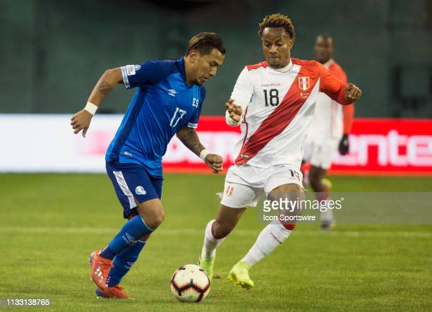 Andre Carrillo moves up with Juan Barahona during an international friendly match between Peru and El Salvador on March 26 at RFK Stadium, in...