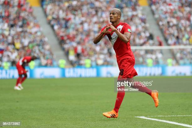 Andre Carrillo of Peru celebrates after scoring his team's first goal during the 2018 FIFA World Cup Russia group C match between Australia and Peru...