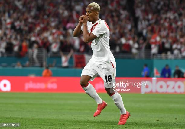 Andre Carrillo of Peru celebrates after scoring the first goal of his team during the international friendly match between Peru and Croatia at Hard...
