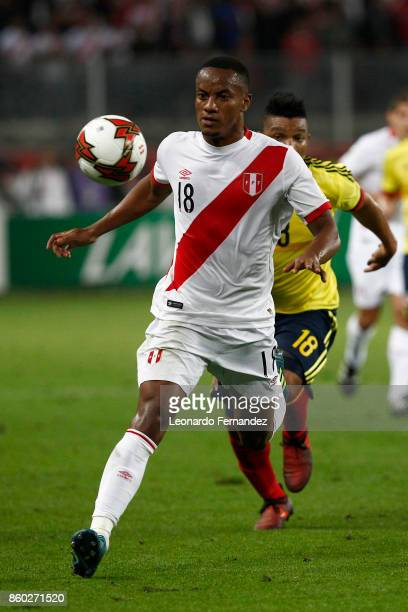 Andre Carrillo of Peru controls the ball during a match between Peru and Colombia as part of FIFA 2018 World Cup Qualifiers at National Stadium on...