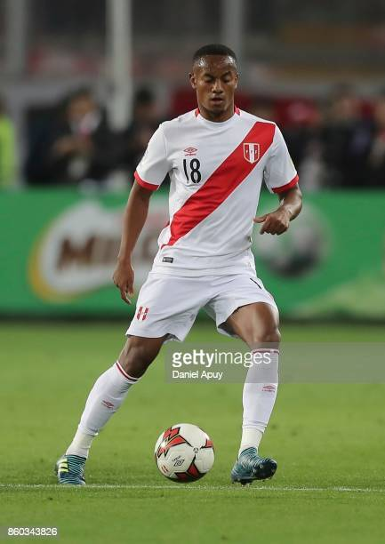 Andre Carrillo of Peru drives the ball during a match between Peru and Colombia as part of FIFA 2018 World Cup Qualifiers at Monumental Stadium on...