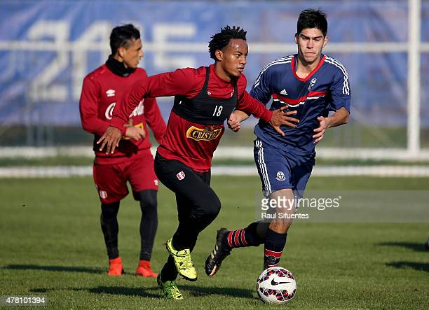 Andre Carrillo of Peru drives the ball during a training match against a local youth team of Universidad de La Frontera as part of 2015 Copa America...