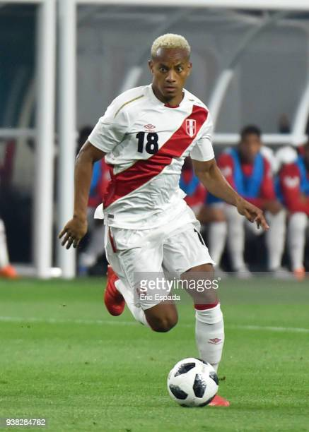 Andre Carrillo of Peru drives the ball during the international friendly match between Peru and Croatia at Hard Rock Stadium on March 23 2018 in...