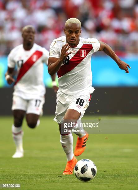 Andre Carrillo of Peru in action during the 2018 FIFA World Cup Russia group C match between Peru and Denmark at Mordovia Arena on June 16 2018 in...