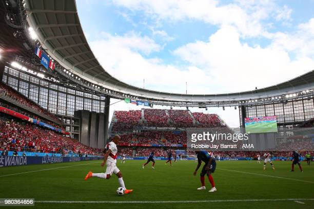 Andre Carrillo of Peru in action during the 2018 FIFA World Cup Russia group C match between France and Peru at Ekaterinburg Arena on June 21 2018 in...