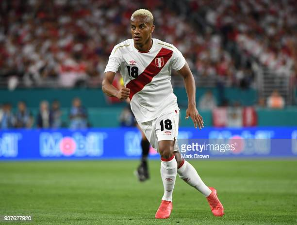 Andre Carrillo of Peru looks on during the international friendly match between Peru and Croatia at Hard Rock Stadium on March 23 2018 in Miami...