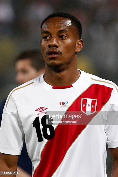 Andre Carrillo of Peru looks on during the international friendly match between Peru and Scotland at Estadio Nacional de Lima on May 29 2018 in Lima...