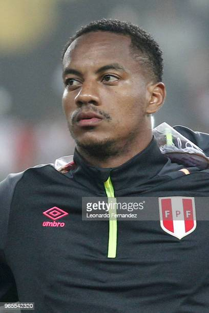 Andre Carrillo of Peru looks on prior the international friendly match between Peru and Scotland at Estadio Nacional de Lima on May 29 2018 in Lima...