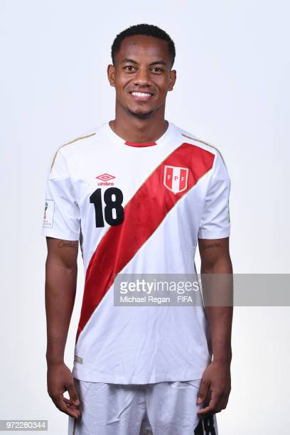 Andre Carrillo of Peru poses for a portrait during the official FIFA World Cup 2018 portrait session at the Team Hotel on June 11 2018 in Moscow...