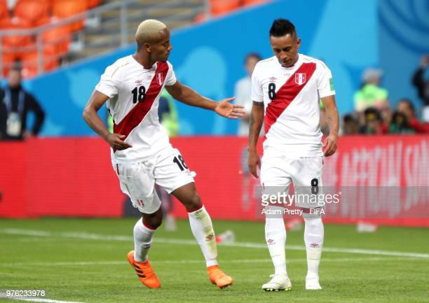 Andre Carrillo of Peru reacts as Christian Cueva of Peru steps up to take a penalty but misses during the 2018 FIFA World Cup Russia group C match...