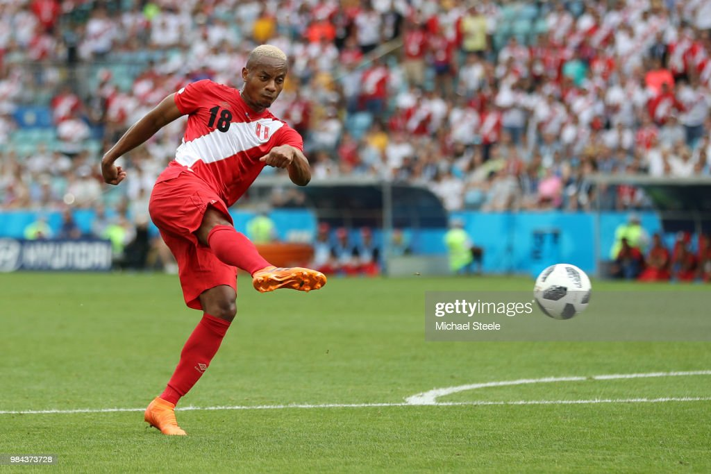 Andre Carrillo of Peru scores his team's first goal during the 2018 FIFA World Cup Russia group C match between Australia and Peru at Fisht Stadium on June 26, 2018 in Sochi, Russia.