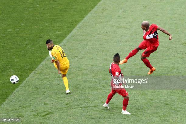Andre Carrillo of Peru scores his team's first goal during the 2018 FIFA World Cup Russia group C match between Australia and Peru at Fisht Stadium...