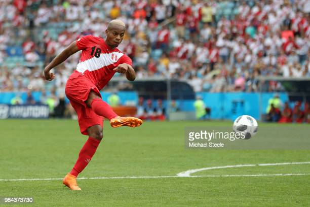 Andre Carrillo of Peru scores the opening goal during the 2018 FIFA World Cup Russia group C match between Australia and Peru at Fisht Stadium on...