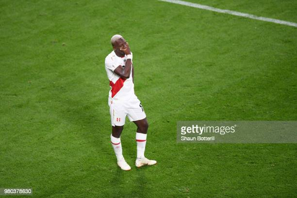 Andre Carrillo of Peru walks off the pitch dejected following the 2018 FIFA World Cup Russia group C match between France and Peru at Ekaterinburg...